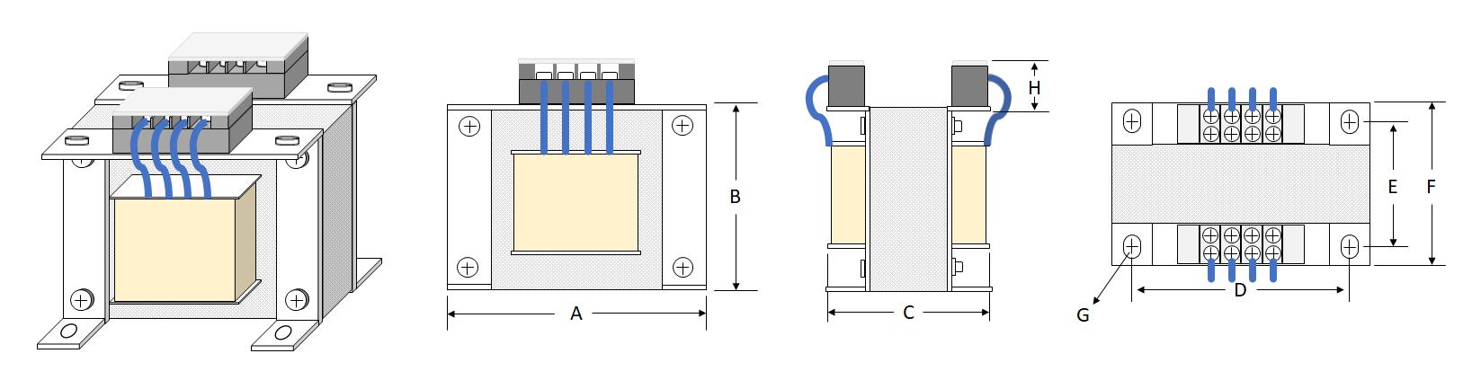 Transformer-Terminal Block - Japanese Type (L Shaped Bracket)
