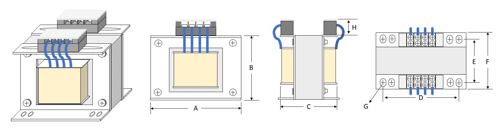 Transformer-Terminal Block - Japanese Type (Square Frame)